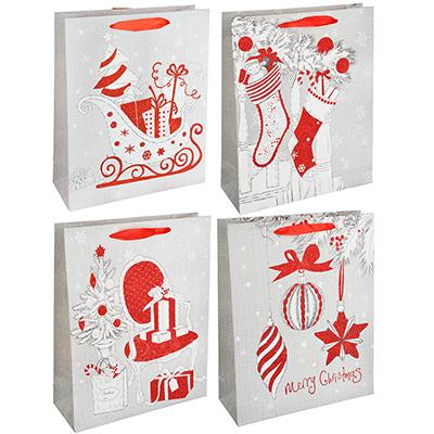 369-334 СНОУ БУМ Пакет подарочный, 26х32х10 см, бумага высокого качества с глиттером, 4 вида, арт.0316