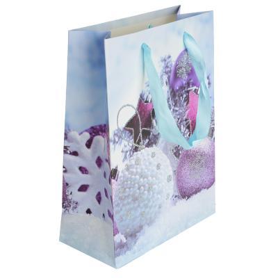 369-336 СНОУ БУМ Пакет подарочный, 24х18х8,5 см, бумага высокого качества с глиттером, 4 вида, арт.0318