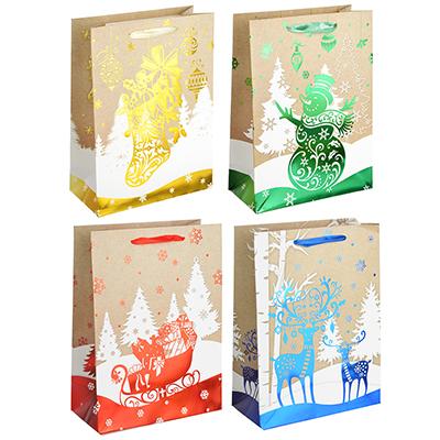 369-339 СНОУ БУМ Пакет подарочный, 24х18х8,5 см, бумага высокого качества с блеском, 4 вида, арт.0321
