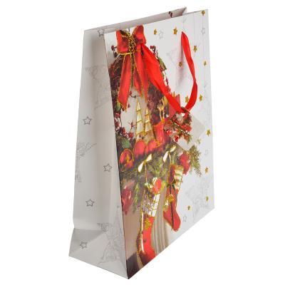 369-343 СНОУ БУМ Пакет подарочный, 26х32х10 см, бумага высокого качества с глиттером, 4 вида, арт.0325