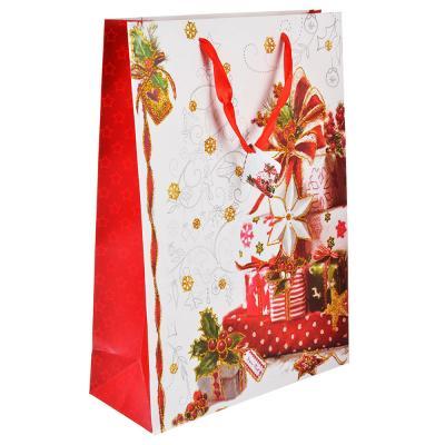 369-344 СНОУ БУМ Пакет подарочный, 30х42х12 см, бумага высокого качества с глиттером, 4 вида, арт.0326