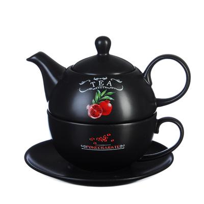 """820-666 Чайный набор, чайник 440 мл, чашка 330 мл, блюдце 15 см, керамика, MILLIMI """"Вельвет"""""""