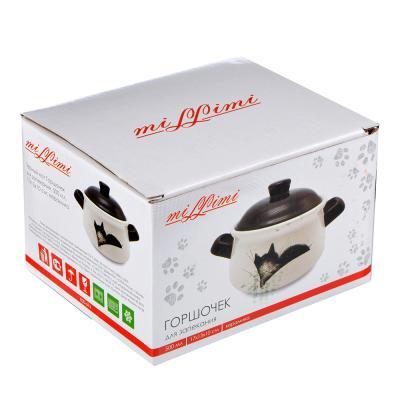 """820-694 Горшочек для запекания керамический, 500  мл, 17x13x10 см, MILLIMI """"Черный кот"""""""