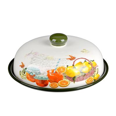 """820-703 Блюдо для блинов с крышкой керамическое 25х25х10 см, MILLIMI """"Лимон"""""""