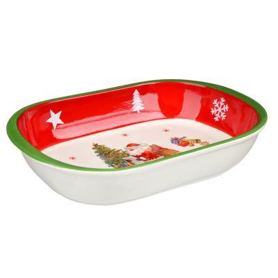 820-719 MILLIMI Новый год Форма для запекания и многослойных салатов овальная, 30х21х6см, керамика