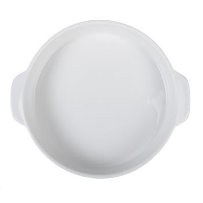 826-263 MILLIMI Жемчуг Форма для запекания и сервировки круглая с ручками, керамика, 26х23х4.5см, белая