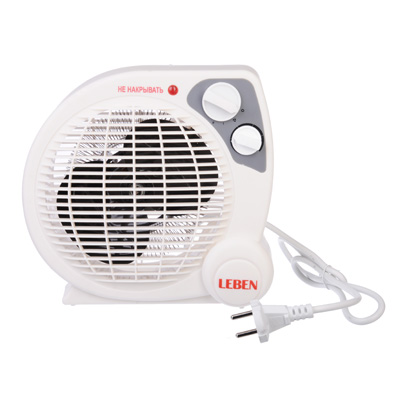 244-002 LEBEN Тепловентилятор HL-12 ,2 режима, 1000/2000Вт, термостат, защита от перегрева, индикатор вкл