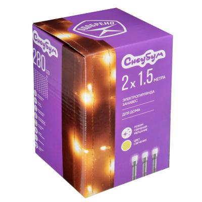 382-029 Гирлянда светодиодная занавес СНОУ БУМ  280 LED, 2x1,5м, шампань, мерцание, прозрачный провод, 220В
