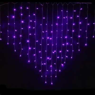 382-033 СНОУ БУМ Гирлянда электр. бахрома-сердце 124LED, 2,5х1,5м,16 нитей, фиолетовый, 8реж, 220В