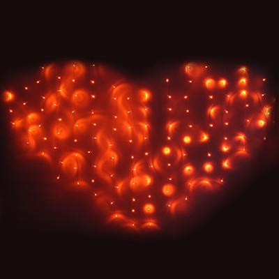 382-034 СНОУ БУМ Гирлянда электр. бахрома-сердце 124LED, 2,5х1,5м,16 нитей, коралловый, 8реж, 220В