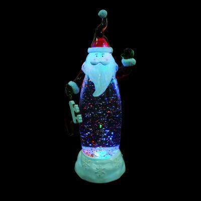 N01-001 СНОУ БУМ Светильник LED с водой и блестками, пластик, в виде Деда Мороза, 3хААА, 29 см