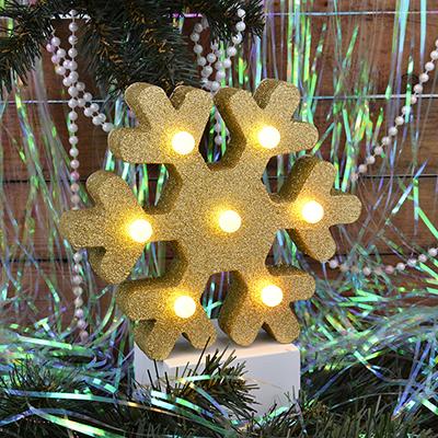 N01-014 СНОУ БУМ Светильник LED с глиттером, МДФ, пластик, в виде снежинки, 20,5х18х4,6см, 2хААА , 2 цвета.