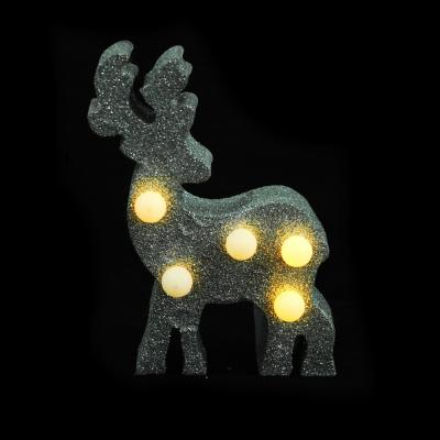 N01-016 СНОУ БУМ Светильник LED с глиттером, МДФ, пластик, в виде оленя, 9,7Х4,3Х15,8 см, 2хААА , 2 цвета.