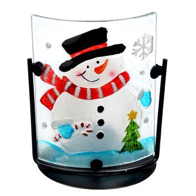 396-478 СНОУ БУМ Подсвечник, в виде Снеговика, стекло, металл, 13,5х10,5 см, 2 дизайна, арт 1