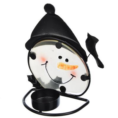 396-479 СНОУ БУМ Подсвечник, в виде Снеговика и Деда Мороза, стекло, металл, 14х10 см, 2 дизайна, арт 2
