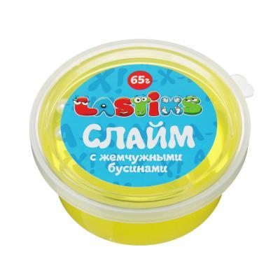 218-026 Слайм с жемчужными бусинами, 62-70гр, пластик, полимер, 6 цветов