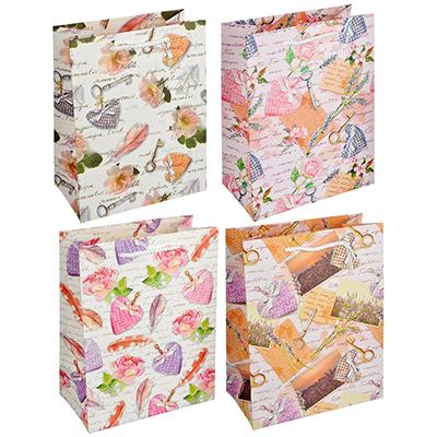 507-903 Пакет подарочный, 18х23х10см, высококачественная бумага, с глиттером, 4 дизайна, арт 117