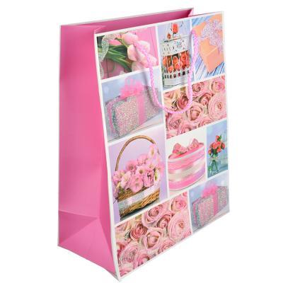 507-905 Пакет подарочный, 26х32х12 см, высококачественная бумага, с глиттером, 4 дизайна, арт 118