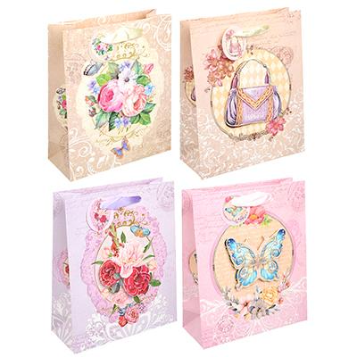 507-906 Пакет подарочный, 19,5х23,5х8 см, 3D эффект, высококачественная бумага с глиттером, 4 дизайна, арт 1