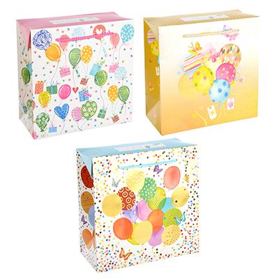 507-921 Пакет подарочный, 20,5х20,5х10 см, высококачественная бумага с блеском, 3 дизайна, арт 134
