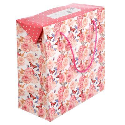 507-923 Пакет подарочный, 20,5х20,5х10 см, высококачественная бумага с блеском, 4 дизайна, арт 136