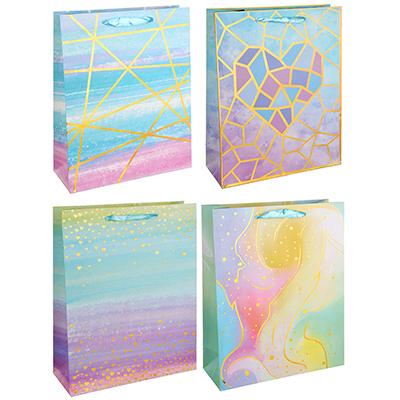 507-932 Пакет подарочный, 26х32х10 см, высококачественная бумага с блеском, 4 дизайна, арт 144