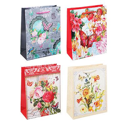 507-933 Пакет подарочный, 18х24х8 см, высококачественная бумага с блеском, 4 дизайна, арт 145