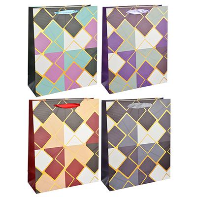 507-934 Пакет подарочный, 26х32х10 см, высококачественная бумага с блеском, 4 дизайна, арт 146