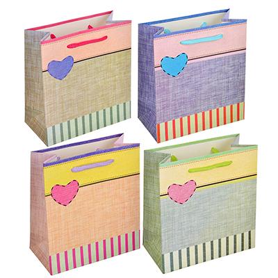 507-941 Пакет подарочный, 14х15,5х7 см, высококачественная бумага, 4 дизайна, арт 153