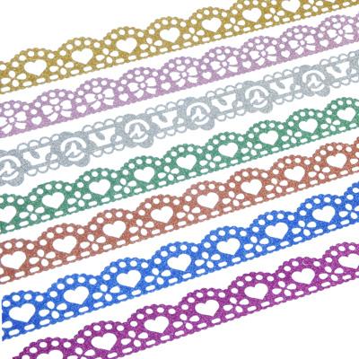 505-009 Клейкая лента ажурная с глиттером, ПВХ, 1,8х100см, 7 цветов (6х2 см)