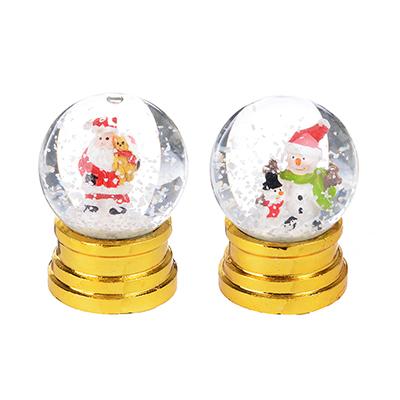 """396-488 СНОУ БУМ Снежный шар 6,3 см, полистоун, """"Новогодний"""", 2 дизайна на золоте"""