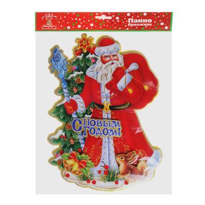 336-281 СНОУ БУМ Панно бумажное с Дедом Морозом и елкой, 38х53 см