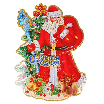 336-282 Панно бумажное СНОУ БУМ с Дедом Морозом и елкой, 23,5х33 см