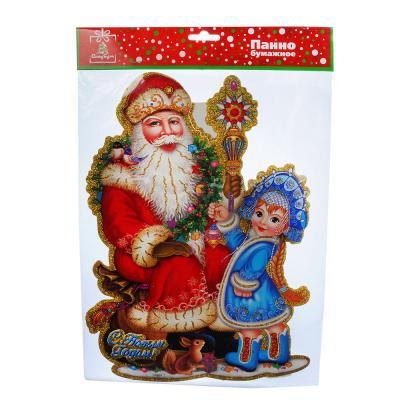 336-287 СНОУ БУМ Панно бумажное с Дедом Морозом и Снегурочкой, 27,2х37 см