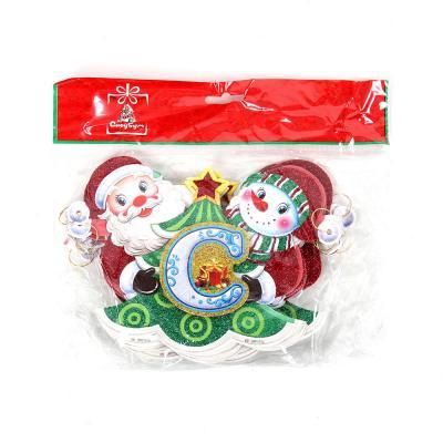 336-289 СНОУ БУМ Растяжка бумажная с Дедом Морозом и Снеговиком, 230 см