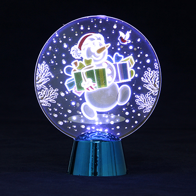 N01-049 СНОУ БУМ Светильник LED Голография Снеговик, h=11см, (от батареек)