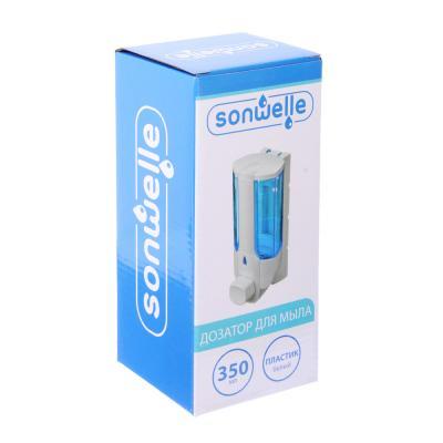 S05-020 Дозатор для мыла 350 мл, 7х8х19 см, пластик белый, SonWelle HS-41402