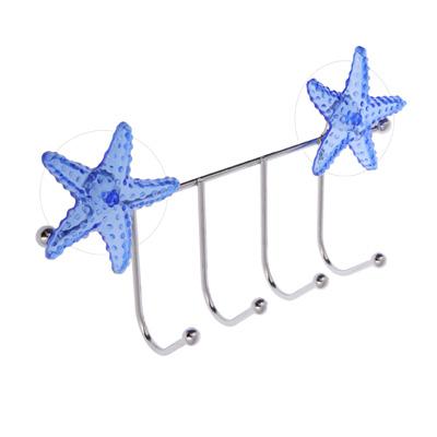 S05-035 Вешалка, 4 крючка, хром, SonWelle Морская звезда, арт. 2437STAR