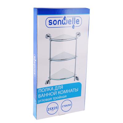S05-039 SonWelle Полка для ванной комнаты угловая тройная, 25x25см, стекло, 8107-3 8100