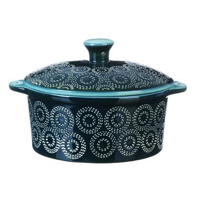 826-270 MILLIMI Горшочек с крышкой для запекания и сервировки, керамика, 13,5х6см, 500мл, аквамарин
