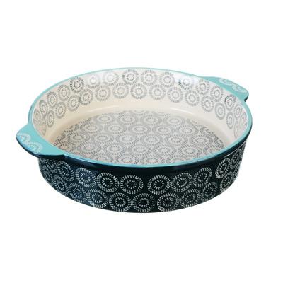 826-273 MILLIMI Форма для запекания и сервировки круглая с ручками, керамика, 25х6см, аквамарин