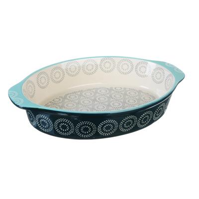 826-281 MILLIMI Форма для запекания овальная с ручками, керамика, 32х21х6см, аквамарин