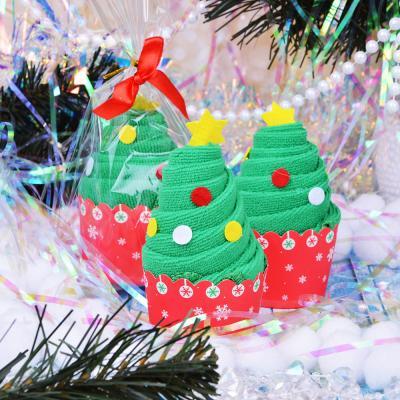 359-679 Полотенце подарочное, микрофибра, 30х30 см, в виде елочки, 12х5,5 см