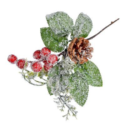 353-061 СНОУ БУМ Украшение декоративное, пластик, красные ягоды, глиттер, 2 дизайна