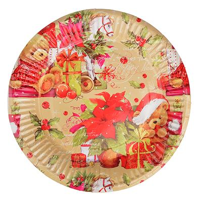 """393-162 СНОУ БУМ Набор бумажных тарелок 6шт, d=18см, """"Новогодняя классика"""""""