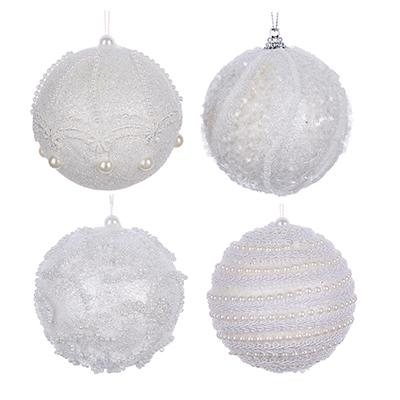 """397-201 СНОУ БУМ Подвеска шар """"Жемчужный"""" 8 см, пластик, 4 дизайна, белый"""