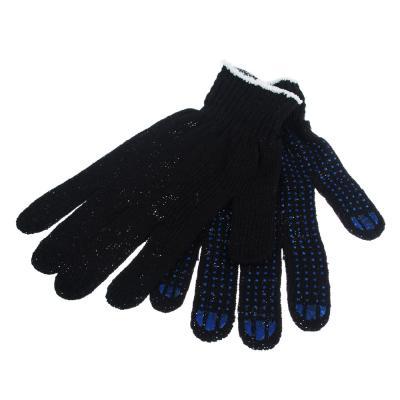 """446-037 Перчатки вязаные эконом х/б с ПВХ напылением """"Точка"""", набор 5 пар, черные"""