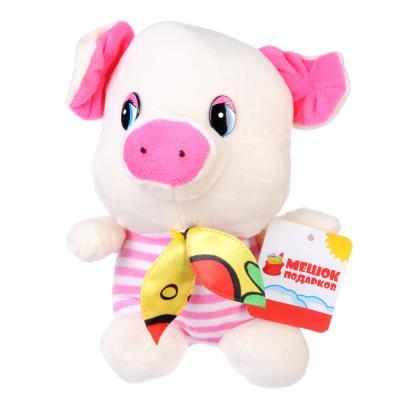 """264-194 МЕШОК ПОДАРКОВ Игрушка мягкая """"Свинка в полосатой футболке"""", плюш, 15-22 см, 6 дизайнов"""