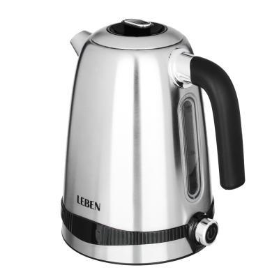 291-059 LEBEN Чайник электрический 1,8л, 1500Вт, скрыт. нагр.элемент, автооткл., стекло, 3 цвета, подсветка