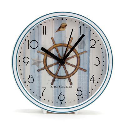 529-151 Будильник электронный Морской, круглый,пластик, 13,3х13,3х4,5, 2 дизайна, 1хАА